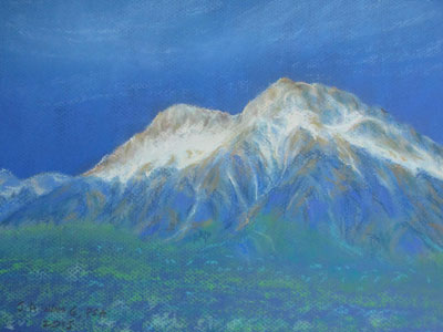 Pastel painting by John Wang - A Section Of The Jade Dragon Snow Mountain, Yunnan, China