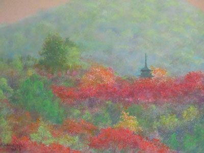Pastel painting by John Wang - Nice Colours Of Autumn, Kyoto, Japan