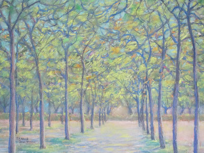 Pastel painting by John Wang - Sun-lit Foliage