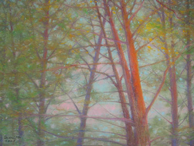 Pastel painting by John Wang - Trees At Late Evening