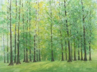 Watercolour painting by John Wang - Lush Greenery
