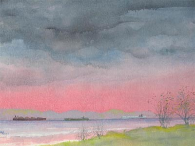 Watercolour painting by John Wang - Rain Clouds Over The Straits Of Singapore