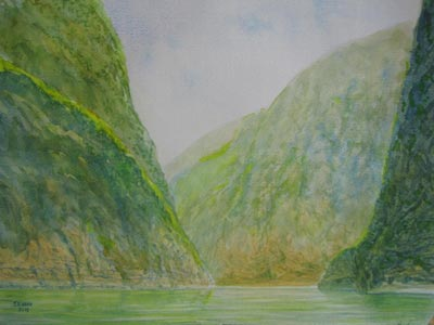 Watercolour painting by John Wang - A Section Of The Lesser 3 Gorges, China