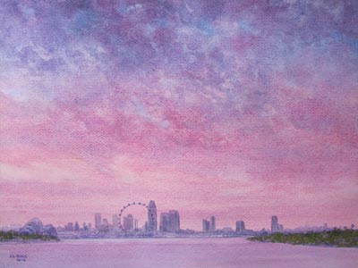 Watercolour painting by John Wang - A View From The Marina Barrage